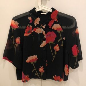 Wilfred boxy blouse with floral pattern, sz small